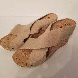 Lucky Brand Wedge Shoes Size 7M Canvas Cork Sole